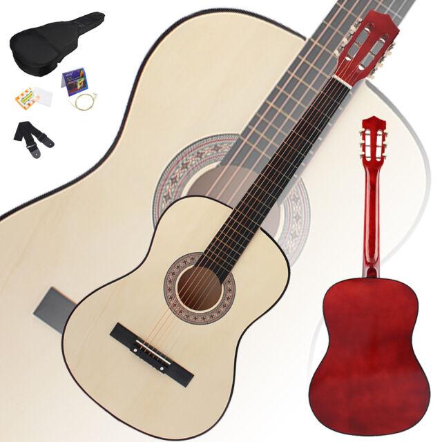 38 Beginner Practice Wood Color Acoustic Guitar Gigbag Strap Tuner