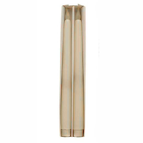 """White battery-powered LED taper candle 27.5cm//10.75/"""" x 2.47cm//0.9/"""" Box of 2"""