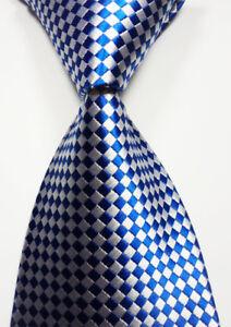 White Blue New Classic Checks JACQUARD WOVEN Silk Men/'s Tie Necktie
