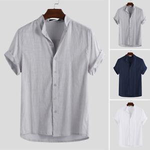 Men-039-s-Linen-Short-Sleeve-Shirt-Summer-Beach-Loose-Casual-Collarless-Tops-Holiday