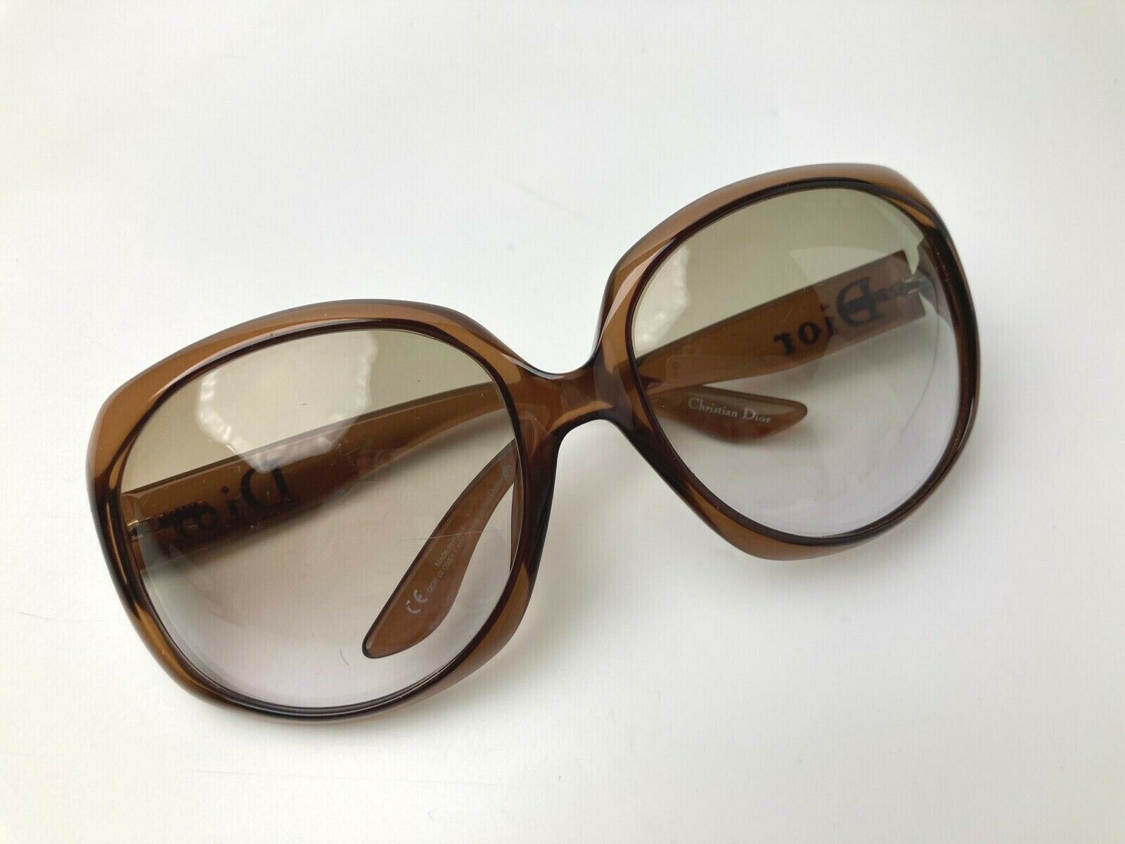 CHRISTIAN DIOR GLOSSY ICONIC SUNGLASSES OVERSIZED CLEAR LIGHT BROWN GRAY ITALY