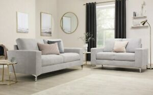 Baltimore Dove Grey Plush Fabric Sofa