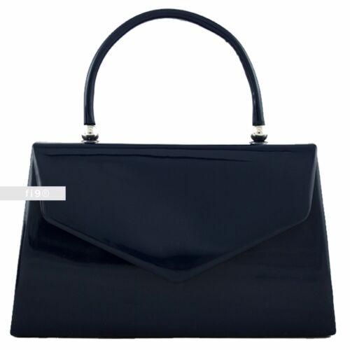 New Stylish Navy Patent Wedding Ladies Party Prom Evening Clutch Hand Bag Purse
