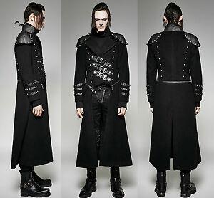 gothic punk rave mantel herren schwarz metal black lang. Black Bedroom Furniture Sets. Home Design Ideas