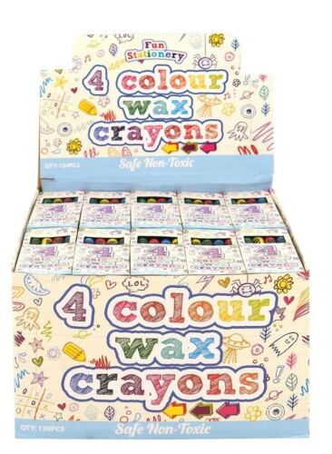 2 of 4 4Pcs CRAYON WAX PACKS Kids Birthday Party Bag Fillers Favors Toy Gift Box NEW UK