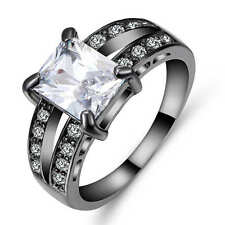 fashion Wedding Rings Size 9 White Zircon 18K Black Gold Filled Wedding
