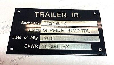 Black Chrome Blank Trailer Frame Equipment Plate Serial Model # ID Tag Quality!