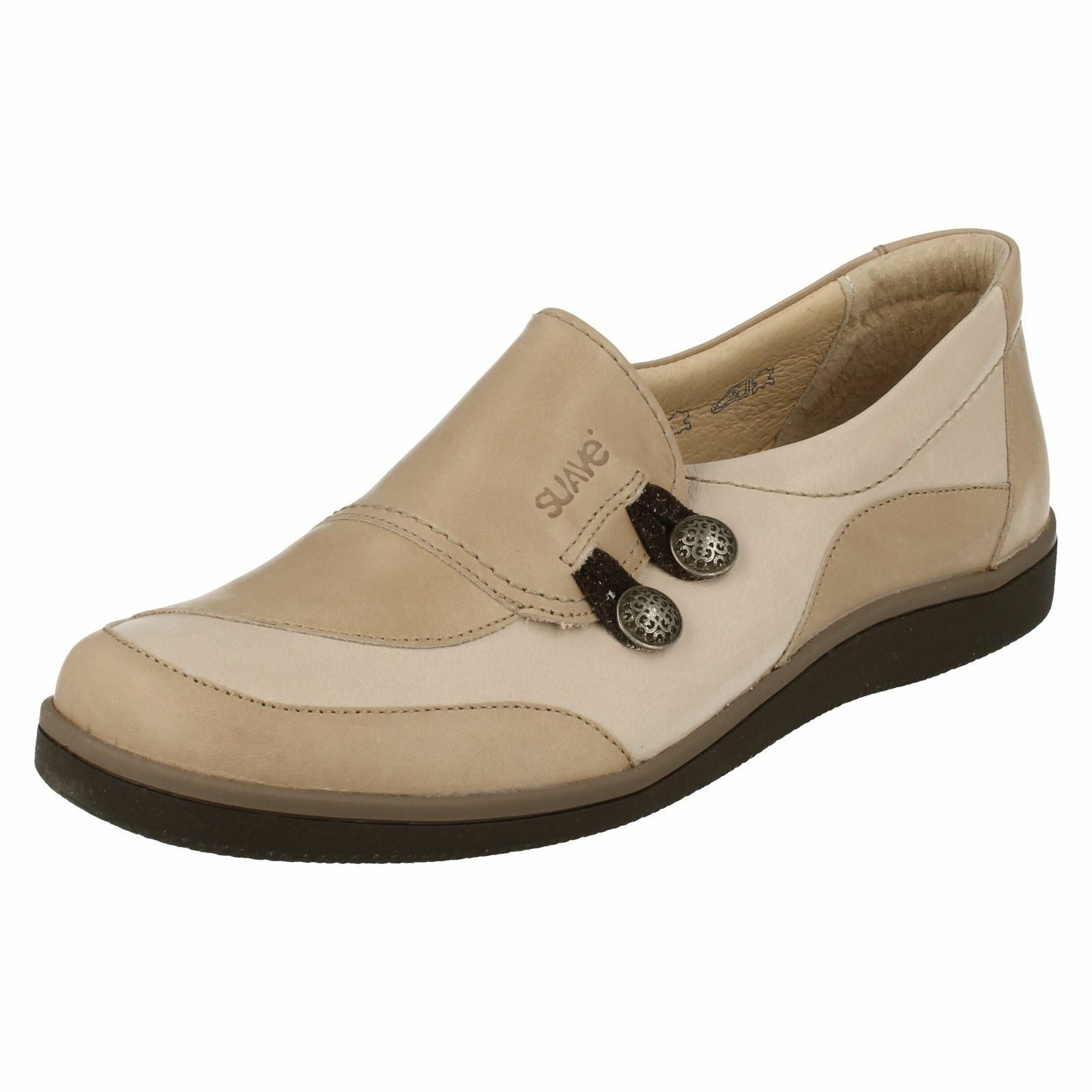 Suave 'Lucy' Ladies Leather Stone/Beige Casual Leather Ladies Comfort Shoes eecdcf