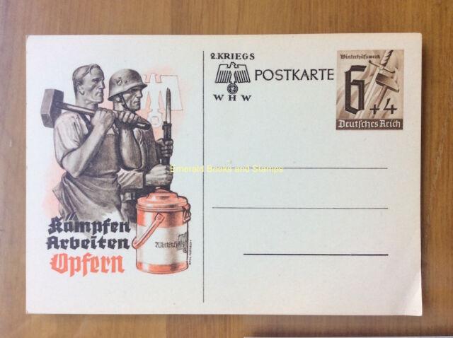 EBS Germany 1940 Postal Card Winterhilfswerk Kämpfen Arbeiten Opfern P291