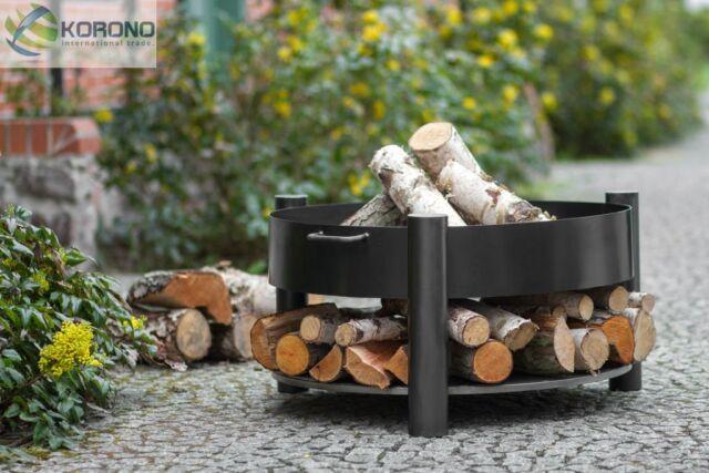 Korono Receptáculo de Fuego de Acero con Revista Madera, Diámetro 60cm, 18 kg,