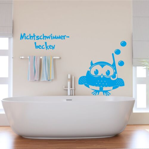 Sticker Mural Nichtschwimmerbecken Hibou Uhu Salle de Bain Bains Stickers Muraux