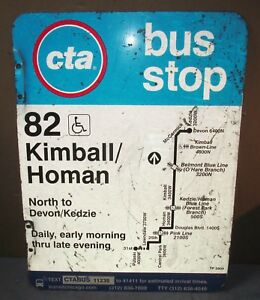 Used-Vtg-CTA-Bus-Stop-82-KIMBALL-HOMAN-Chicago-Aluminum-Sign-24-x-18-S629