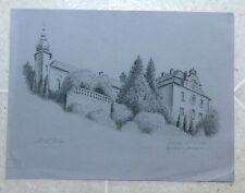 Charcoal Drawing by Stuart Jones En Plein Air Baden Baden Germany NEUES SCHLOSS