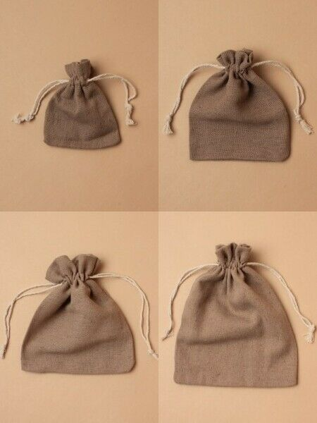 Taupe Jute Effect Bag Cloth Drawstring Pouch Bulk Jewellery Gift Craft Bags