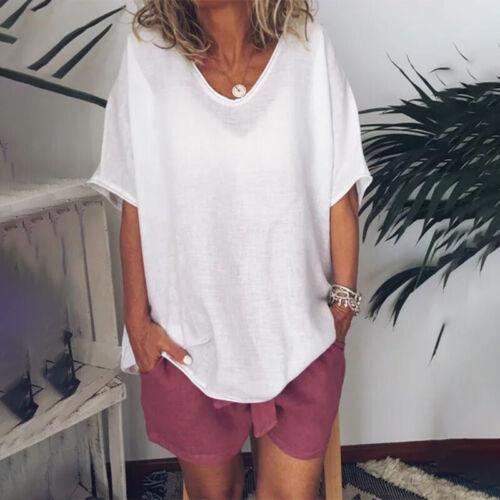 Damen Leinen Bluse Sommer Kurzarm Tunika T-Shirt Freizeitshirt Tops Oberteile