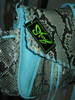 Sharif Turquoise Leather Python Limited Edition Handbag (143/200) Msrp $2,050+
