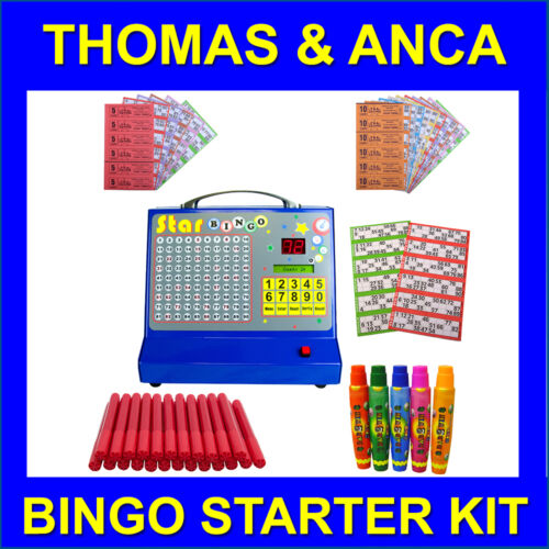 Bingo Starter Kit with Star Bingo Machine Tickets & Dabbers