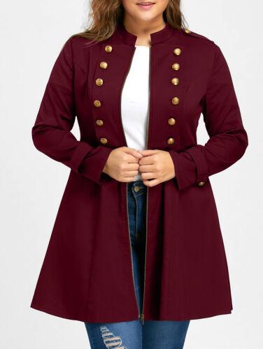 Moda Donna Taglie Forti Vintage lungo Giacca a Doppio Petto Zampa Cappotto