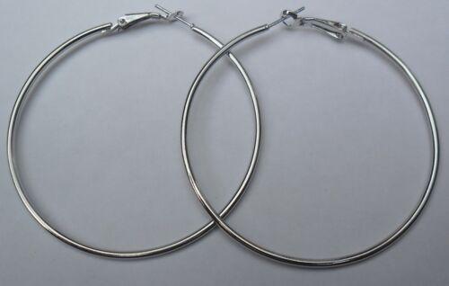 Bijou fantaisie boucles d/'oreille creoles argentées diamètre 6 cm