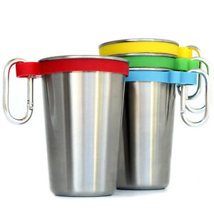 273c9c06e18 Stainless Steel 16 oz Pint Cups with Color Bands & Carabiner Hooks ...