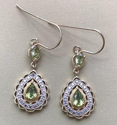1.40ctw GENUINE PERIDOT STONE & DIAMOND WIRE EARRINGS NEW