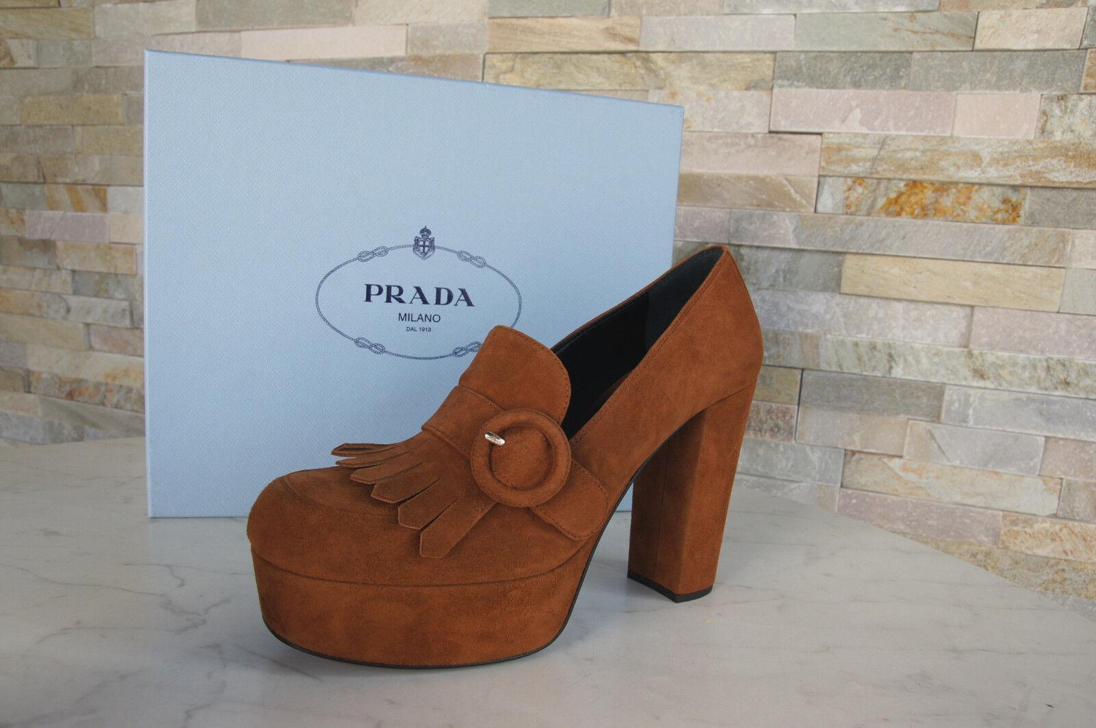 Luxus Prada Gr 36 Pumps Plateau Schuhe Heels 1D889G braun neu