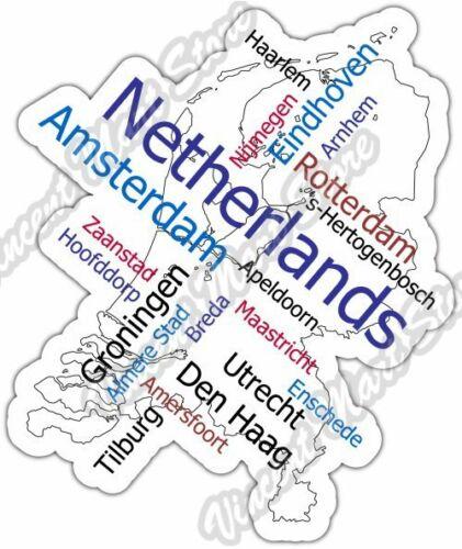 Netherlands Amsterdam Country Map Word Cloud Bumper Vinyl Sticker - Amsterdam country map