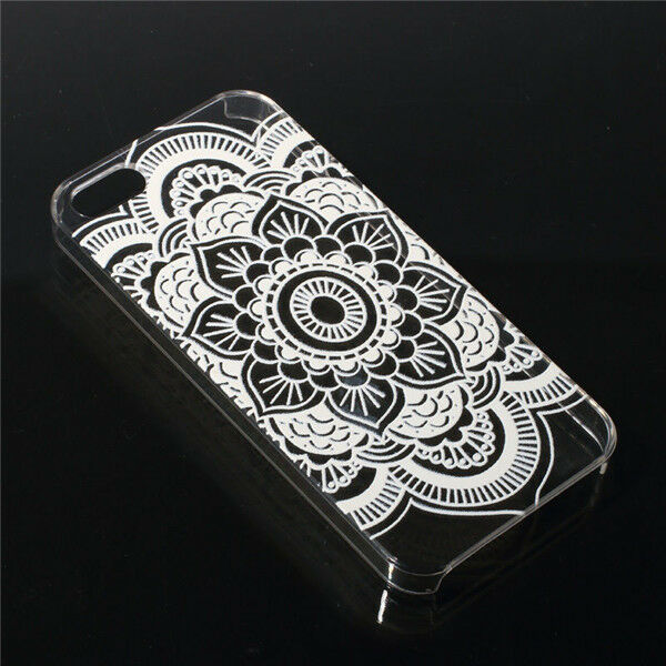 White Henna Pained Floral Paisley Transparent Case For Iphone 4S 5S 5C 6 Plus