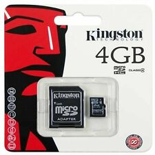 Kingston 4GB 4Gig 4 GB Micro SD Card + SD Adapter For Phone Tablet Camera