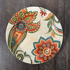 Pier-1-Set-of-4-CLASSIC-FLORAL-Paisley-Salad-Plate-Fall-Colors-with-Chips