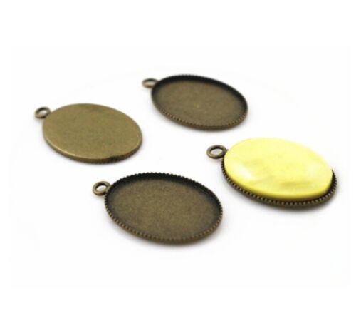 20pcs 13x18mm Charm Oval Pendant Base Setting Cabochon Pendant Blank Trays DIY