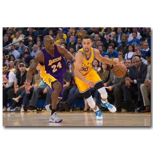Stephen Curry vs Kobe Bryant Basketball MVP Silk Poster Print 13x20 24x36 inch