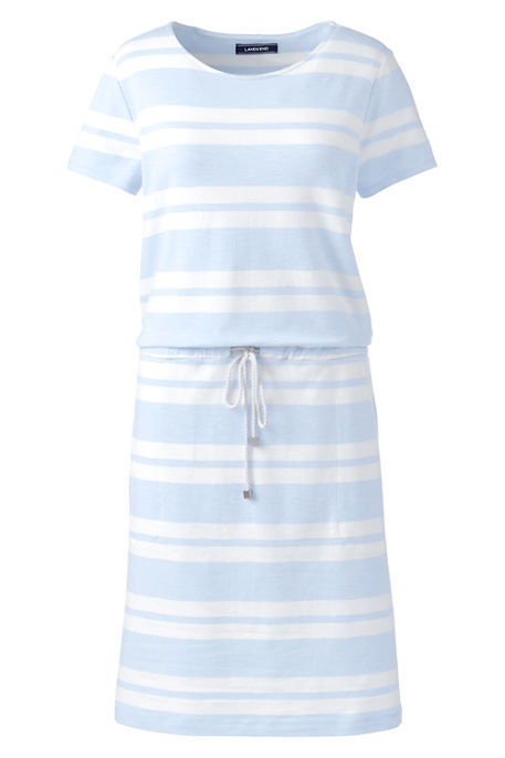 Lands End Women's Short Sleeve Tie Front Dress Soft Sky bluee Stripe New