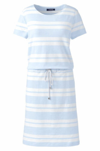Lands End Women/'s Short Sleeve Tie Front Dress Soft Sky Blue Stripe New