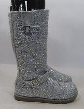 NEW silver Rhinestone winter mid-calf boot furon inside side Button Size  9