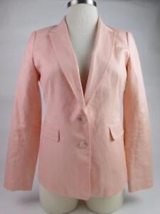Banana Republic Womens Peach Linen Career Blazer Sport Coat Jacket