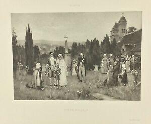 Gravure-ancienne-a-l-eau-forte-XIXe-P-OUTIN-PIETE-FILIALE-salon-1888-rare