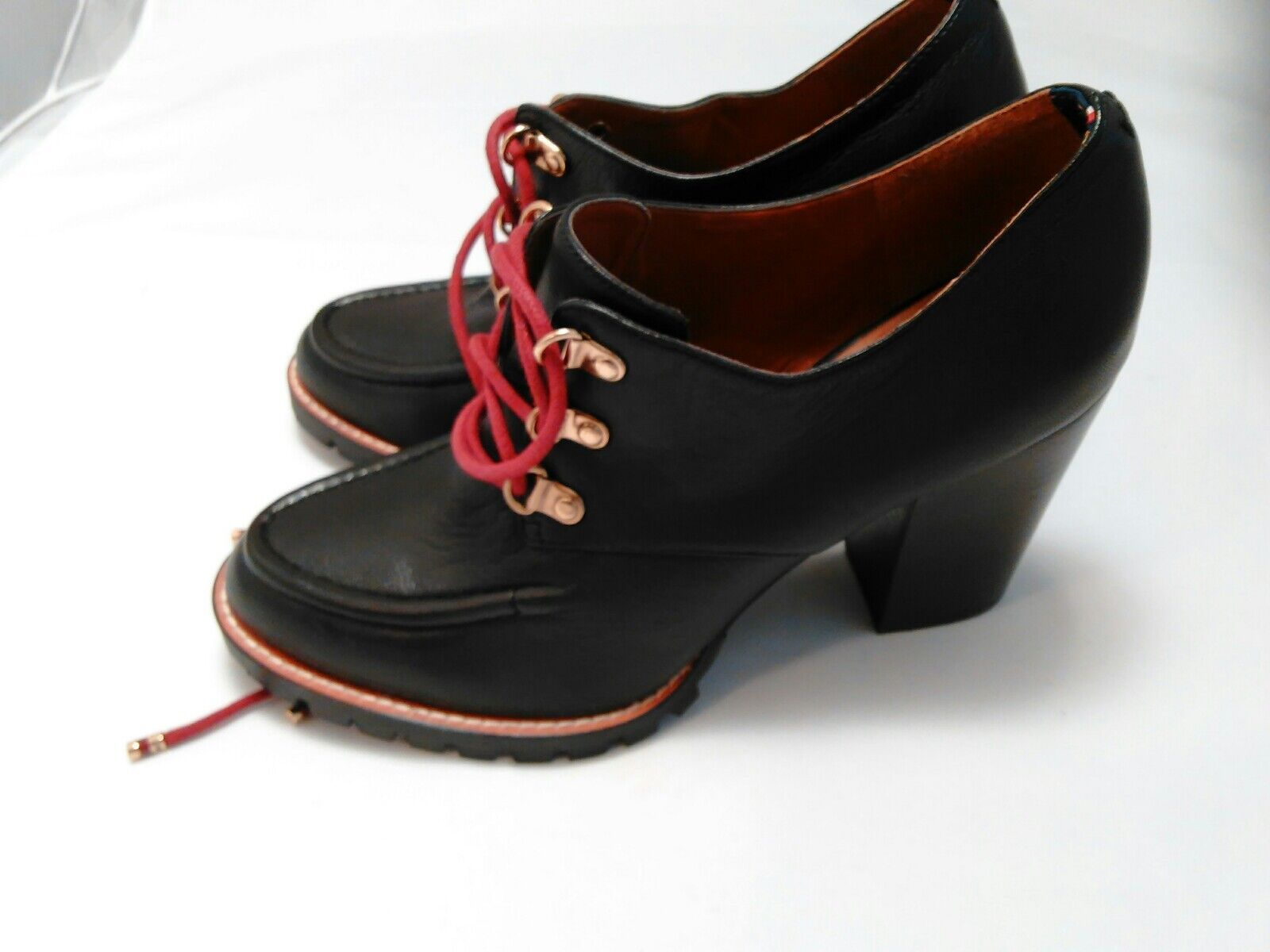 New with defects TOMMY HILFIGER Oxford  Black Platforms Shoes Sz 10M