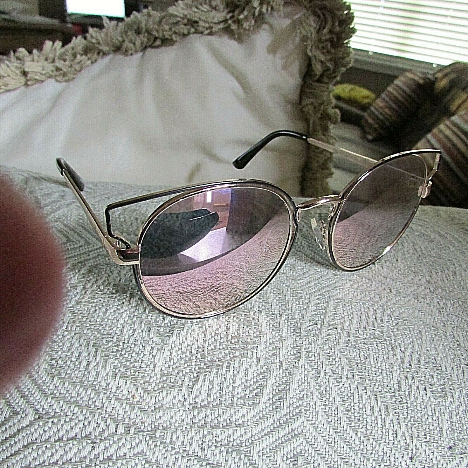 Lucky Brand Kelsey Metal Round Cat Eye Pink Flash Mirrored Sunglasses-NWOT
