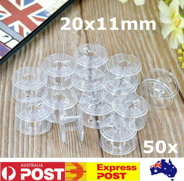 50Pcs Empty Clear Plastic Bobbins For Brother Janome Singer Sewing Machines Tool