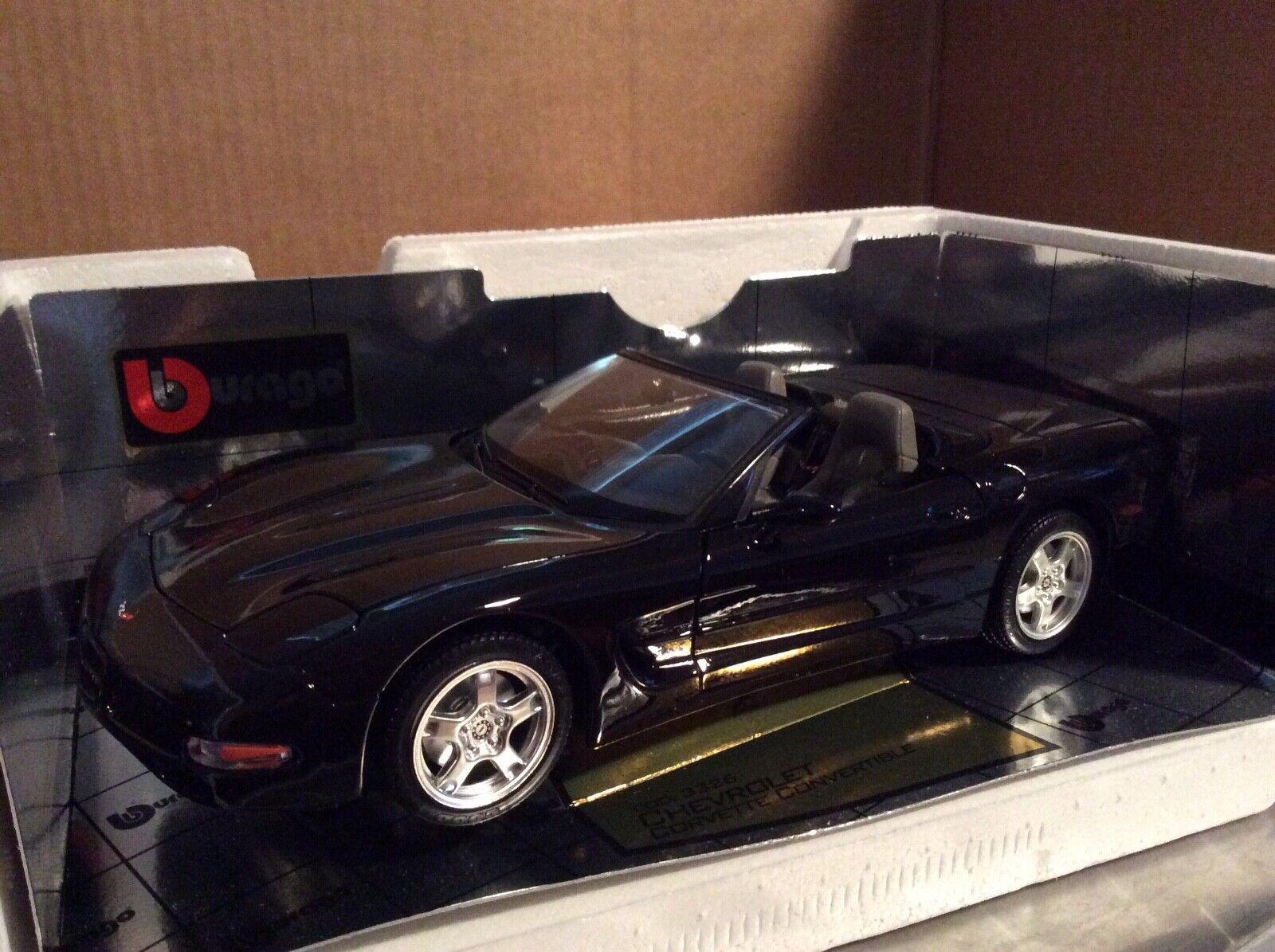 Mejor precio Burago 1998 Chevrolet Corvette Converdeible Negro con interior gris 1 1 1 18  comprar mejor