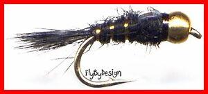Bead Head Black Gold Ribbed Hares Ear Nymph Fly Fishing Flies - Twelve NEW Flies