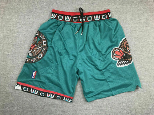 Retro 95 96 Pantaloncini Shorts Basket Vancouver Grizzlies Mike Bibby Cucita Blu