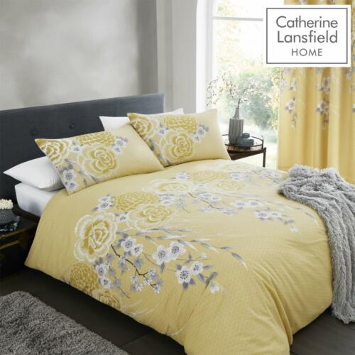 Catherine Lansfield Oriental Blossom Yellow//Grey Quilt//Duvet Cover Collection