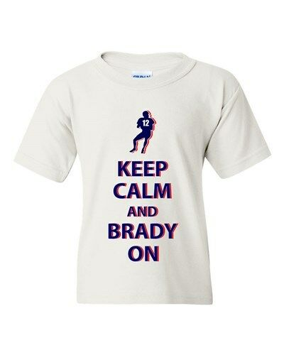 Keep Calm and Brady On New England Football Sports DT Youth Kids T-Shirt Tee