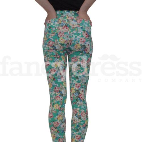 Ladies Green Floral Stretch Leggings Jeggings Pockets M-L-XL Cotton Elastene NEW