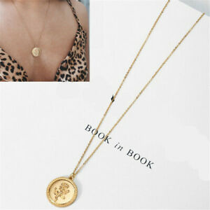 Gold Alloy Rose Flower Round Coin Pendant Long Chain Necklace
