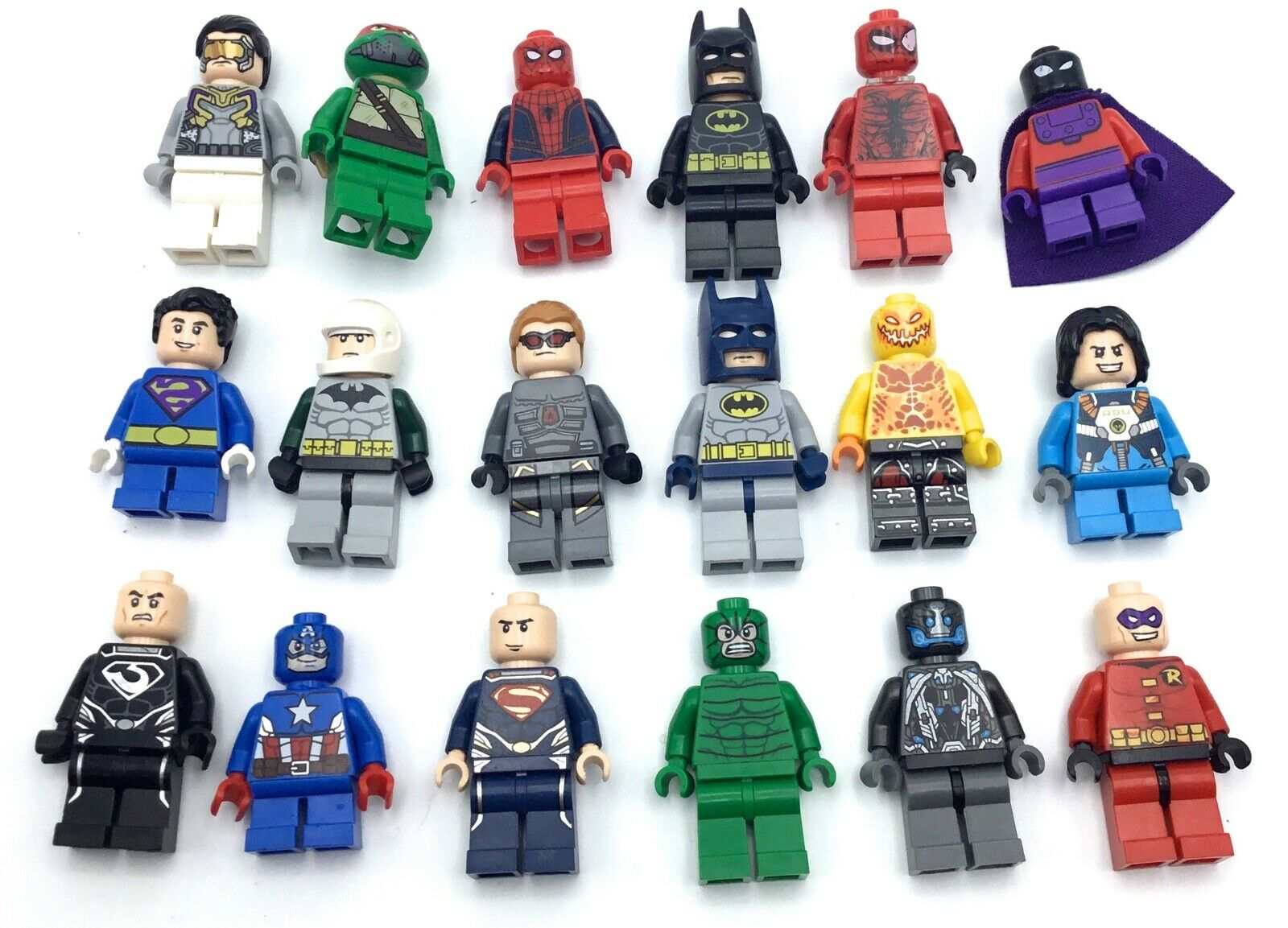 LEGO HUGE LOT OF 18 SUPERHERO MINIFIGURES MARVEL DC BATMAN TMNT HEROES MIX RARE