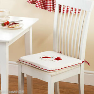 """2 X SUNFLOWER YELLOW EMBROIDERED GINGHAM KITCHEN CUSHION SEAT PAD 16/"""" X 16/"""" X 1"""""""